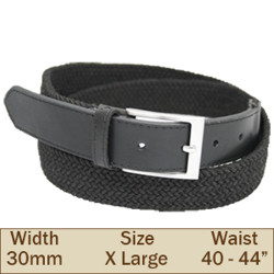 30mm Elasticated Trouser Belt (X Large Black)
