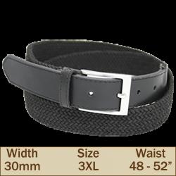 30mm Elasticated Trouser Belt (3XL Black)