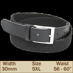 30mm Elasticated Trouser Belt (5XL Black)