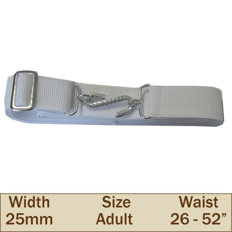 25mm Elasticated Adult Snake Trouser Belt (White)