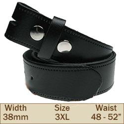 38mm Press Stud Buckleless Trouser Belt (3XL Black)