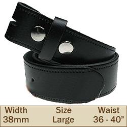 38mm Press Stud Buckleless Trouser Belt (Large Black)