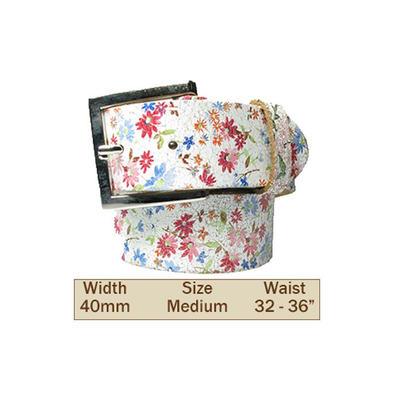 40mm Flower Design Leather Trouser Belt (Medium)