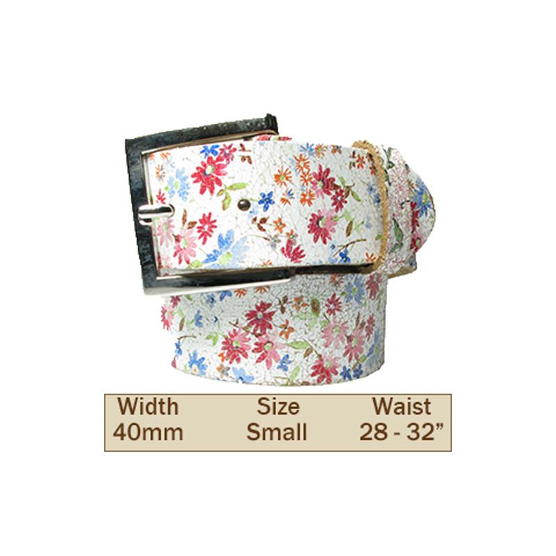 40mm Flower Design Leather Trouser Belt (Small)