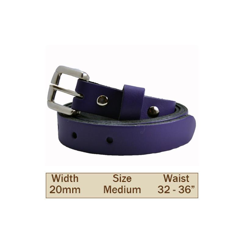 20mm Leather Trouser Belt (X Large Purple)