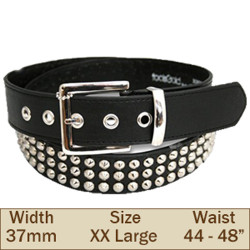 37mm 3 Row Studded Trouser Belt (2XL Black)