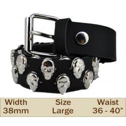 38mm 2 Row Skull Studded Trouser Belt (Large Black)