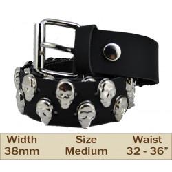 38mm 2 Row Skull Studded Trouser Belt (Medium Black)