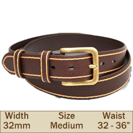 32mm Samuel Leather Trouser Belt (Medium Brown)