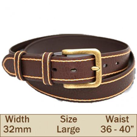 32mm Samuel Leather Trouser Belt (Large Brown)