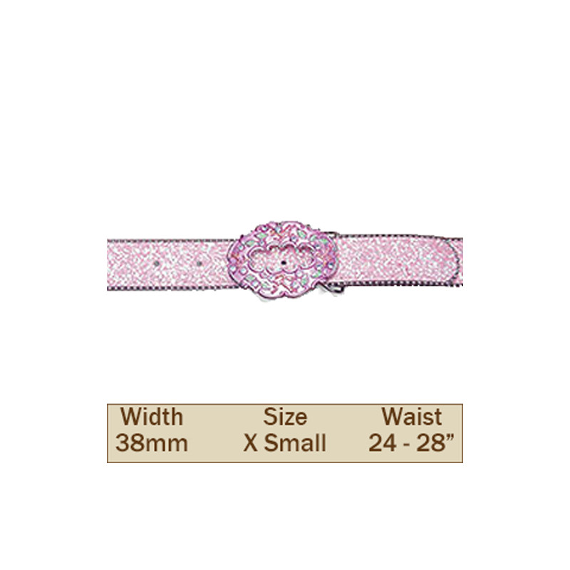 38mm Pink Glitter Trouser Belt (Extra Small)