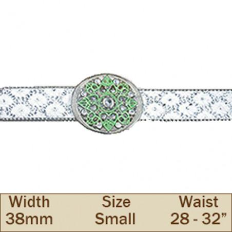 38mm White & Green Glitter Trouser Belt (Small)