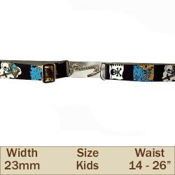 23mm Elasticated kids Snake Trouser Belt (Pirates)