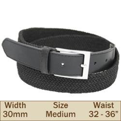 30mm Elasticated Trouser Belt (Medium Black)